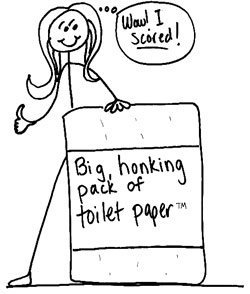 Lori and the big, honking package of toilet paper